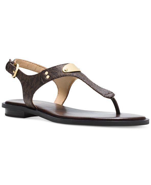 Michael Kors MK Plate Signature Logo Flat Thong Sandals