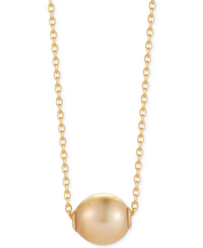 Cultured South Sea Freshwater Pearl Pendant Necklace (10mm) in 14k Gold Vermeil over Sterling Silver
