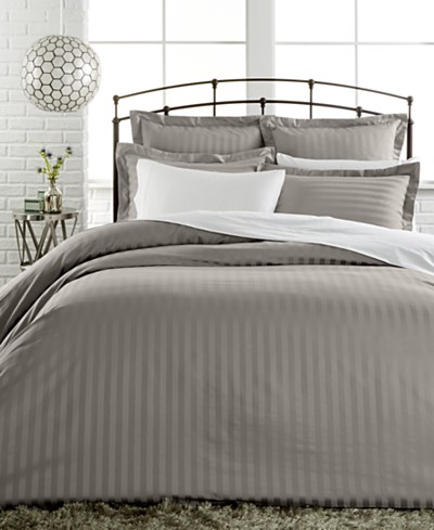 CLOSEOUT! Charter Club Damask Stripe 500 Thread Count Pima Cotton Duvet Covers, Created for Macy's