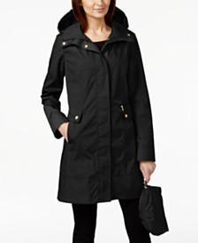 Cole Haan Petite Packable Hooded Water-Resistant Raincoat