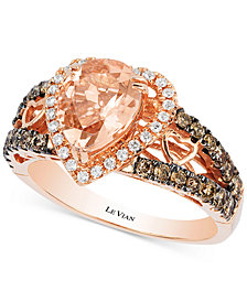 Le Vian Chocolatier® Peach Morganite (1-1/5 ct. t.w.) and Diamond (2/3 ct. t.w.) Ring in 14k Rose Gold, Created for Macy's