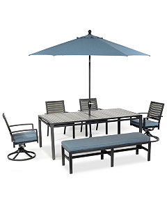 Harlough Outdoor Aluminum 6 Pc Dining Set 84 X 42 Dining Table 2 Dining Chairs 2 Swivel Rockers And 1 Bench Created For Macy S