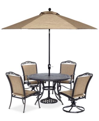 """Beachmont II Outdoor 5 Pc. Dining Set (48"""" Round Table, 2 Dining Chairs and 2 Swivel Rockers), Created for Macy's"""