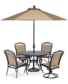 "Beachmont II Outdoor 5 Pc. Dining Set (48"" Round Table, 2 Dining Chairs and 2 Swivel Rockers), Created for Macy's"