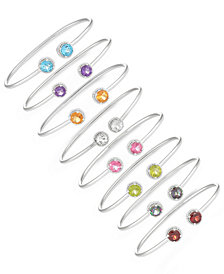 Gemstone Flexible Bangle Bracelet Collection in Sterling Silver