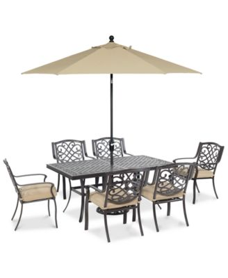 "CLOSEOUT! Park Gate Outdoor Cast Aluminum 7-Pc. Dining Set (68"" x 38"" Dining Table and 6 Dining Chairs), Created for Macy's"