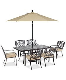 "Park Gate Outdoor Cast Aluminum 7-Pc. Dining Set (68"" x 38"" Dining Table and 6 Dining Chairs), Created for Macy's"