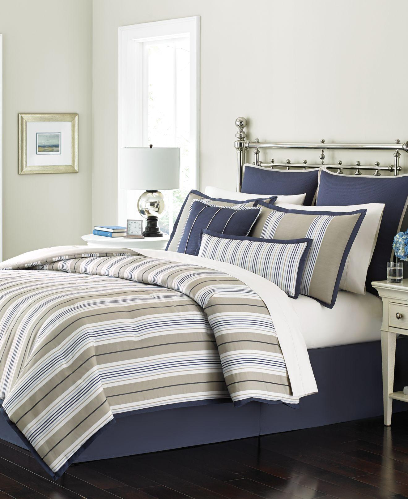 closeout! martha stewart collection madison stripe 6-pc. comforter