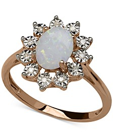 Opal (3/4 ct. t.w.) and Diamond Accent Oval Ring in 14k Rose Gold