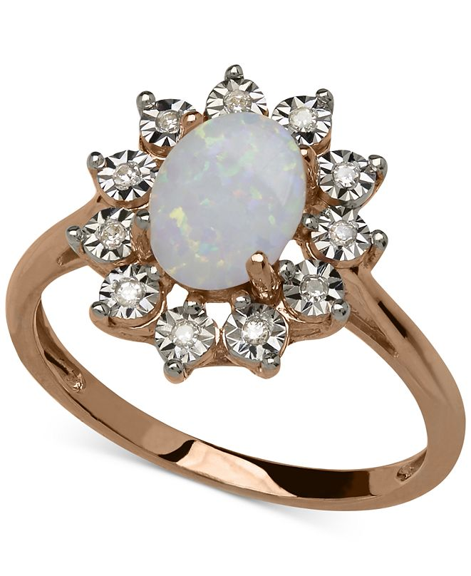Macy's Opal (3/4 ct. t.w.) and Diamond Accent Oval Ring in 14k Rose Gold