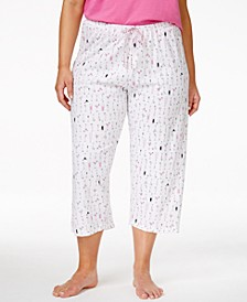 Plus Size Cocktails Print Capri Pajama Pants