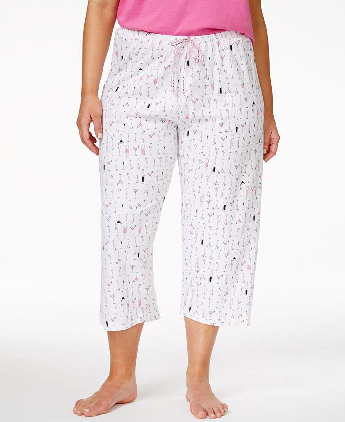 Hue - Plus Size Printed Capri Pajama Pants