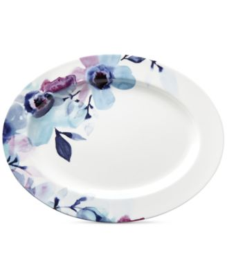 Indigo Watercolor Floral Porcelain Oval Platter, Created for Macy's