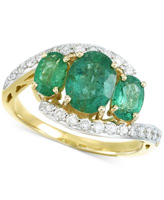 RARE Featuring GEMFIELDS Certified Emerald (1-5/8 ct. t.w.) and Diamond (1/3 ct. t.w.) Ring in 14k G...