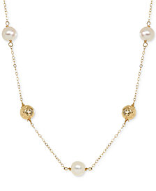 Honora Style Cultured Freshwater Pearl (7mm) and Bead Station Necklace in 14k Gold