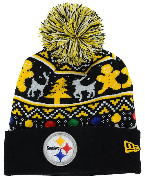 best service 7bed2 1ea8a New Era Pittsburgh Steelers Christmas Sweater Pom Knit Hat ...