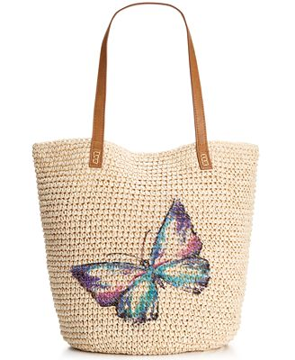 Style & Co. Butterfly Straw Beach Bag, Only at Macy's - Handbags ...