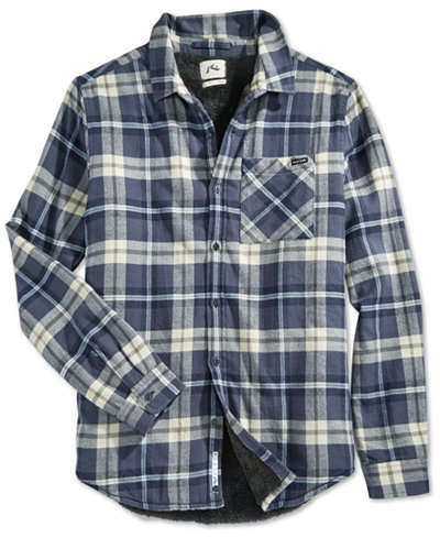 Rusty wedger plaid flannel faux sherpa lined long sleeve for Sherpa lined plaid shirt