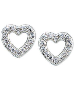 GIANI BERNINI   Giani Bernini Cubic Zirconia Pave Heart Stud Earrings In Sterling Silver, Only At Macy'S   Goxip