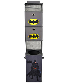 Modern Littles Batman Closet Hanging Organizer with 2 Storage Bins