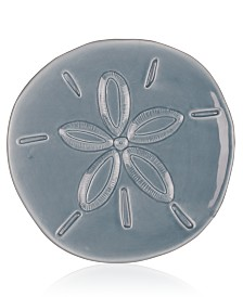 Fitz and Floyd Cape Coral Home Gray Sand Dollar Snack Plate