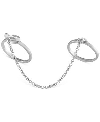 French Connection Silver-Tone Two Finger Chain Ring