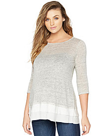 A Pea In The Pod Maternity Tiered Three-Quarter-Sleeve Top