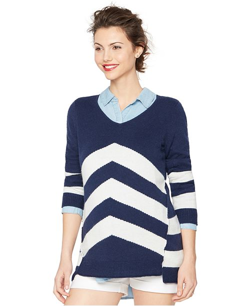 A Pea in the Pod Maternity Chevron V-Neck Sweater