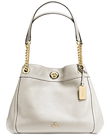 COACH Turnlock Edie Shoulder Bag in Pebble Leather
