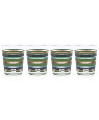 Slate & Sage Stripe Set of 4 Double Old-Fashioned Glasses