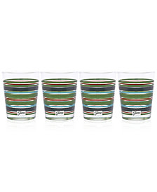 Fiesta Slate & Sage Stripe Set of 4 Double Old-Fashioned Glasses