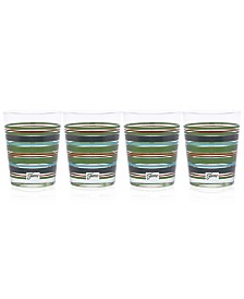 Fiesta Slate & Sage Stripe Set of 4 Double Old-Fashioned Glasses