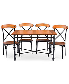 Shilo Wood & Metal 5-Pc. Dining Set, Quick Ship