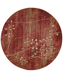 "CLOSEOUT! Nourison Somerset Flame Blossom 5'6"" Round Rug"