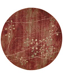 """CLOSEOUT! Nourison Somerset Flame Blossom 5'6"""" Round Rug"""