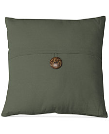 "Elrene Essex Button Flap Linen Blend 18"" Square Decorative Pillow"
