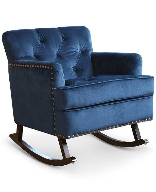BLUSH & BRASS  Aydan Nailhead Rocking Chair, Quick Ship