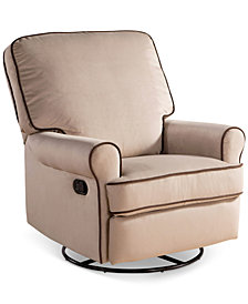 Narda Fabric Nursery Swivel Glider Recliner, Quick Ship