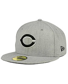 Cincinnati Reds Heather Black White 59FIFTY Fitted Cap