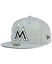 Miami Marlins Heather Black White 59FIFTY Fitted Cap