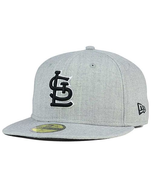 ... New Era St. Louis Cardinals Heather Black White 59FIFTY Fitted Cap ... e74106a556c