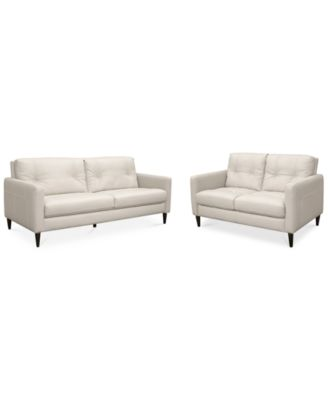 keaton leather sofa u0026 loveseat set created for macyu0027s