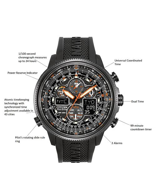 910c9b1e1c6 ... Citizen Men s Eco-Drive Navihawk A-T Black Polyurethane Strap Watch  48mm JY8035- ...