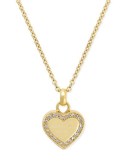 Michael kors mini 16 crystal heart pendant necklace jewelry michael kors mini 16 mozeypictures Image collections