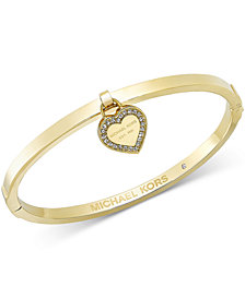 Michael Kors Gold-Tone Bangle with MK Charm