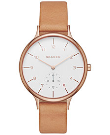 Skagen Women's Chronograph Natural Leather Strap Watch 34mm SKW2405