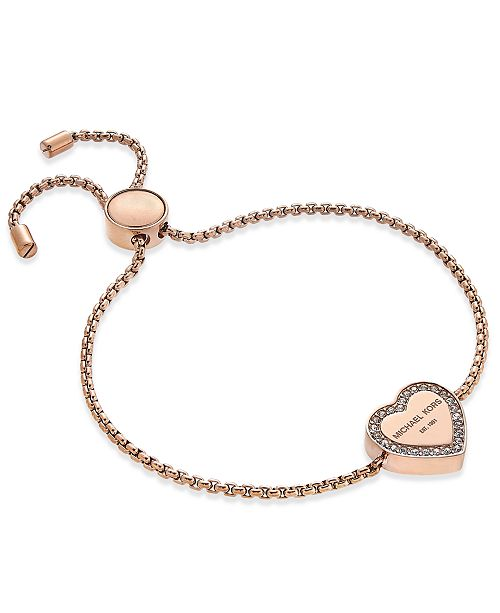 070bee75a Michael Kors Crystal Heart Logo Slider Bracelet & Reviews - Fashion ...