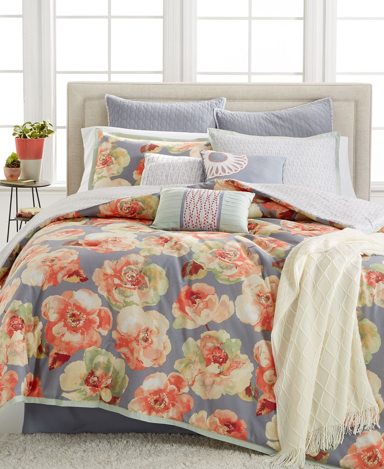 closeout! kelly ripa home magnolia 10-pc. reversible comforter
