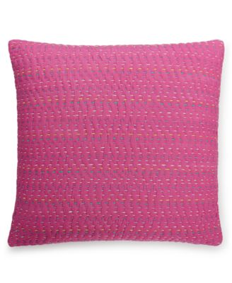 "CLOSEOUT! Lomond Pink Esme Kantha 16"" Square Decorative Pillow"