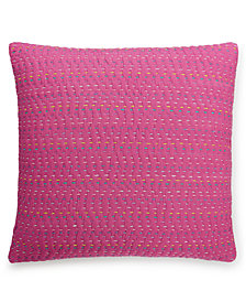 "CLOSEOUT! bluebellgray Lomond Pink Esme Kantha 16"" Square Decorative Pillow"